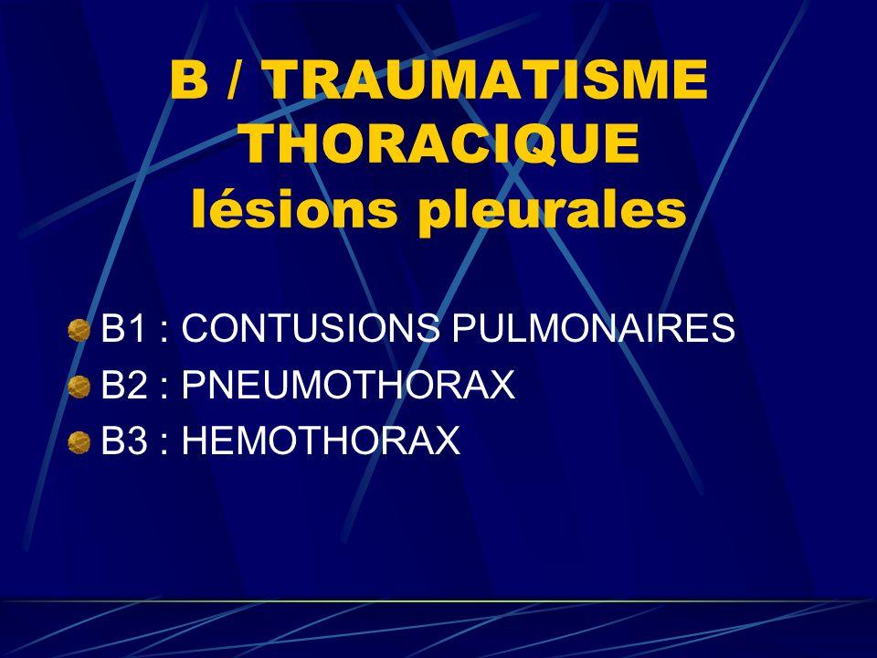 B / TRAUMATISME THORACIQUE lésions pleurales