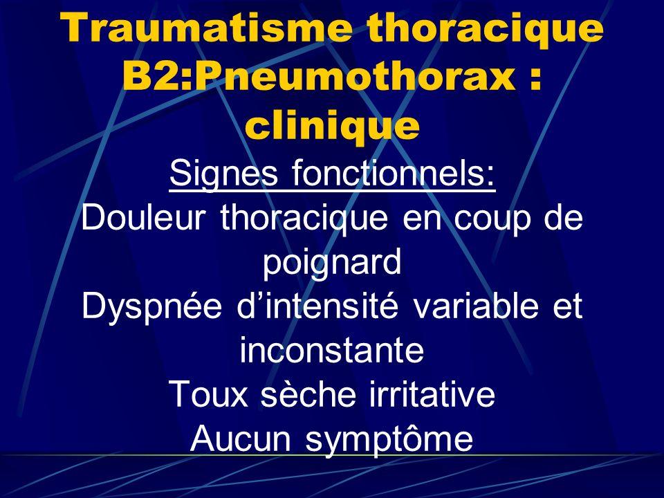 Traumatisme thoracique B2:Pneumothorax : clinique Signes fonctionnels: Douleur thoracique en coup de poignard Dyspnée d'intensité variable et inconstante Toux sèche irritative Aucun symptôme