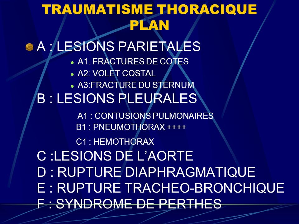TRAUMATISME THORACIQUE PLAN