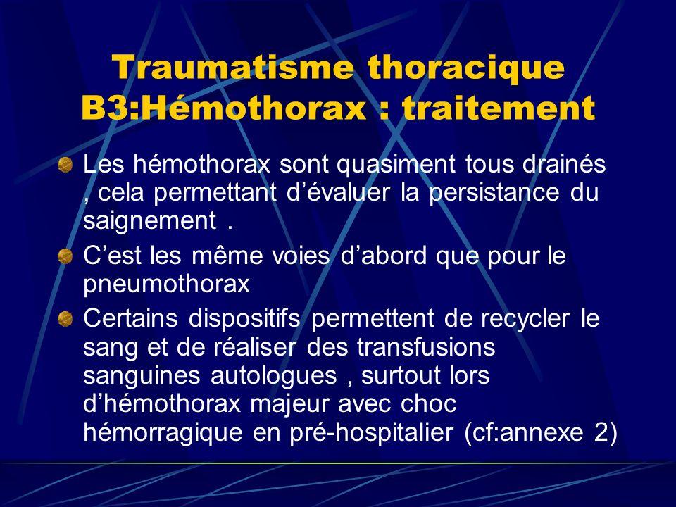 Traumatisme thoracique B3:Hémothorax : traitement