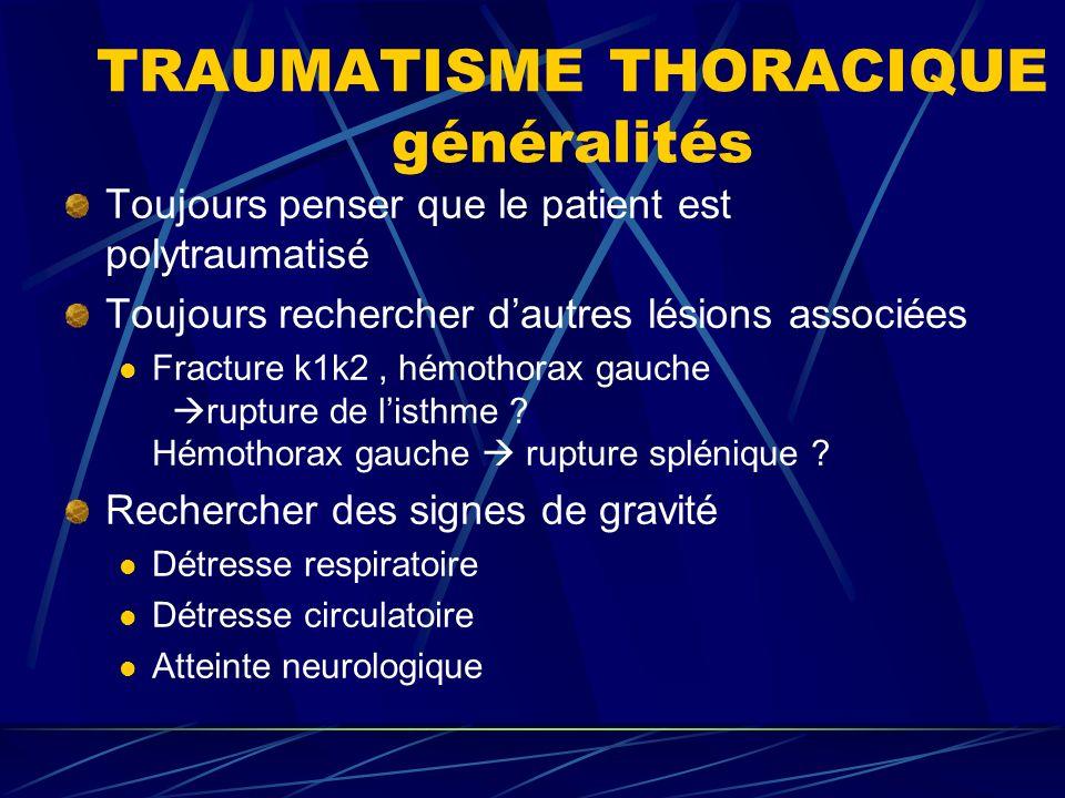TRAUMATISME THORACIQUE généralités