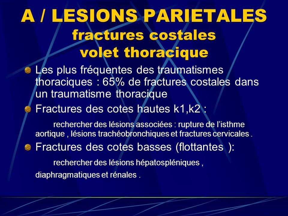 A / LESIONS PARIETALES fractures costales volet thoracique