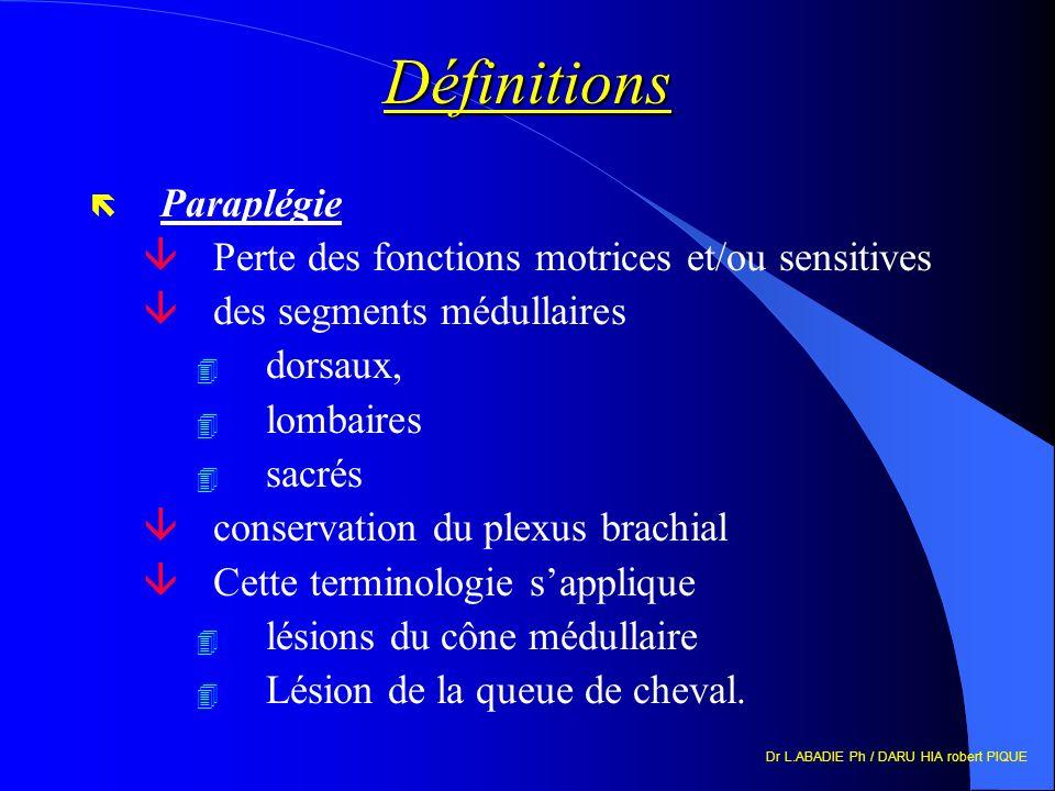 Définitions Paraplégie Perte des fonctions motrices et/ou sensitives