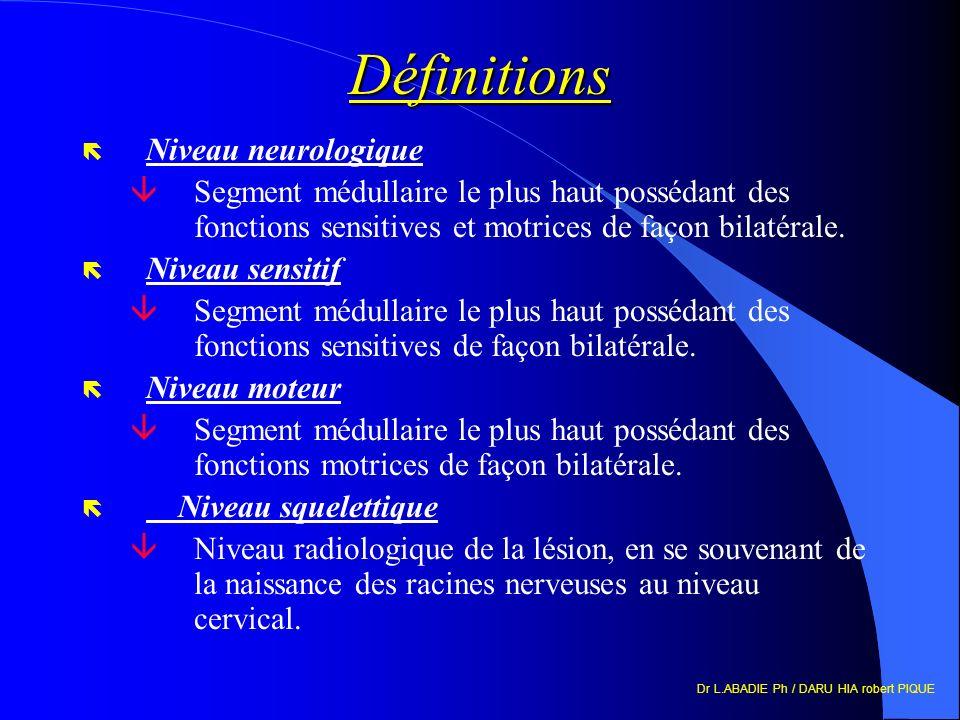 Définitions Niveau neurologique