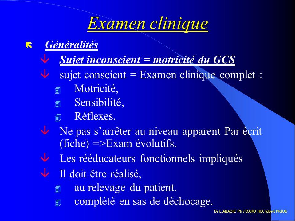 Examen clinique Généralités Sujet inconscient = motricité du GCS