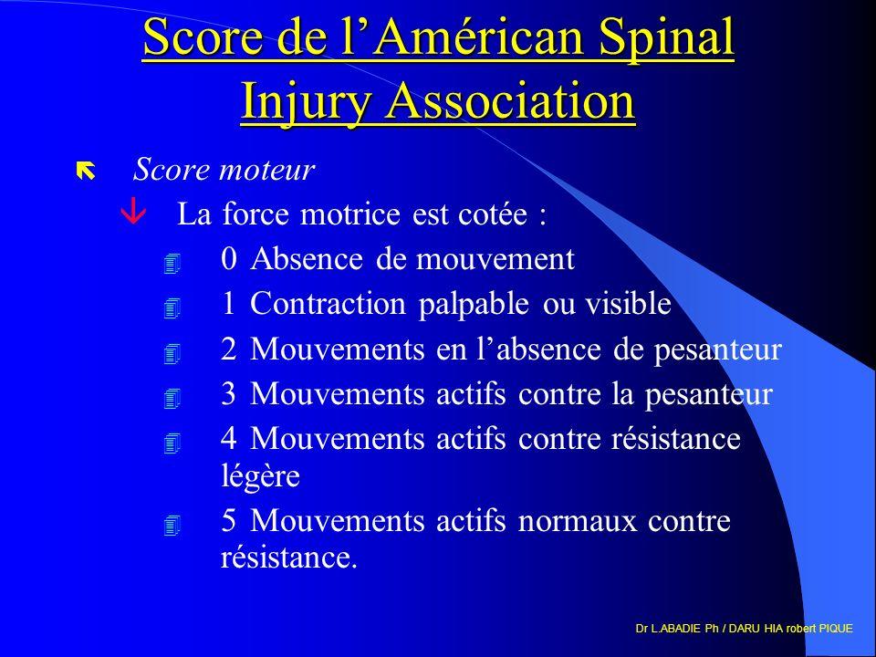 Score de l'Américan Spinal Injury Association
