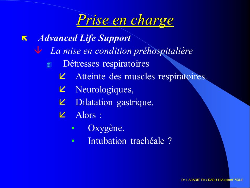 Prise en charge Advanced Life Support