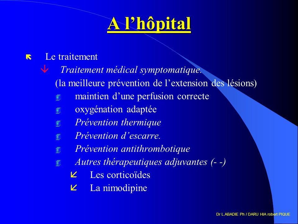 A l'hôpital Le traitement Traitement médical symptomatique.