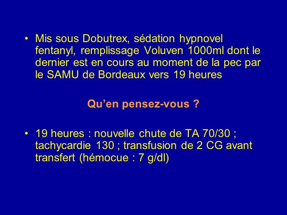 Mis sous Dobutrex, sédation hypnovel fentanyl, remplissage Voluven 1000ml dont le dernier est en cours au moment de la pec par le SAMU de Bordeaux vers 19 heures