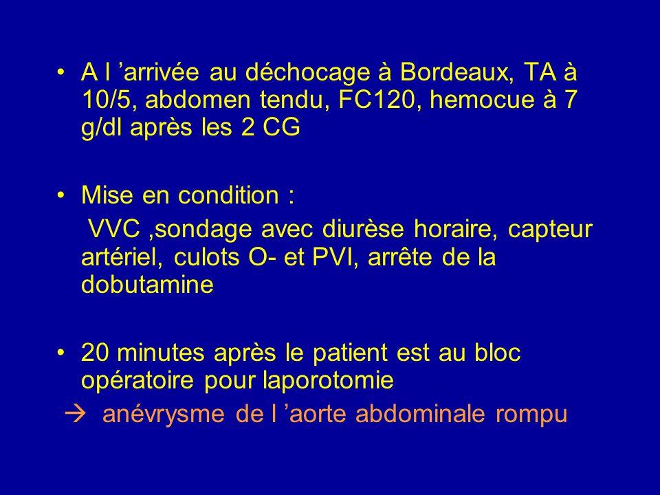 A l 'arrivée au déchocage à Bordeaux, TA à 10/5, abdomen tendu, FC120, hemocue à 7 g/dl après les 2 CG