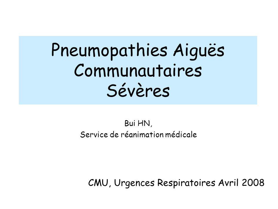 Pneumopathies Aiguës Communautaires Sévères