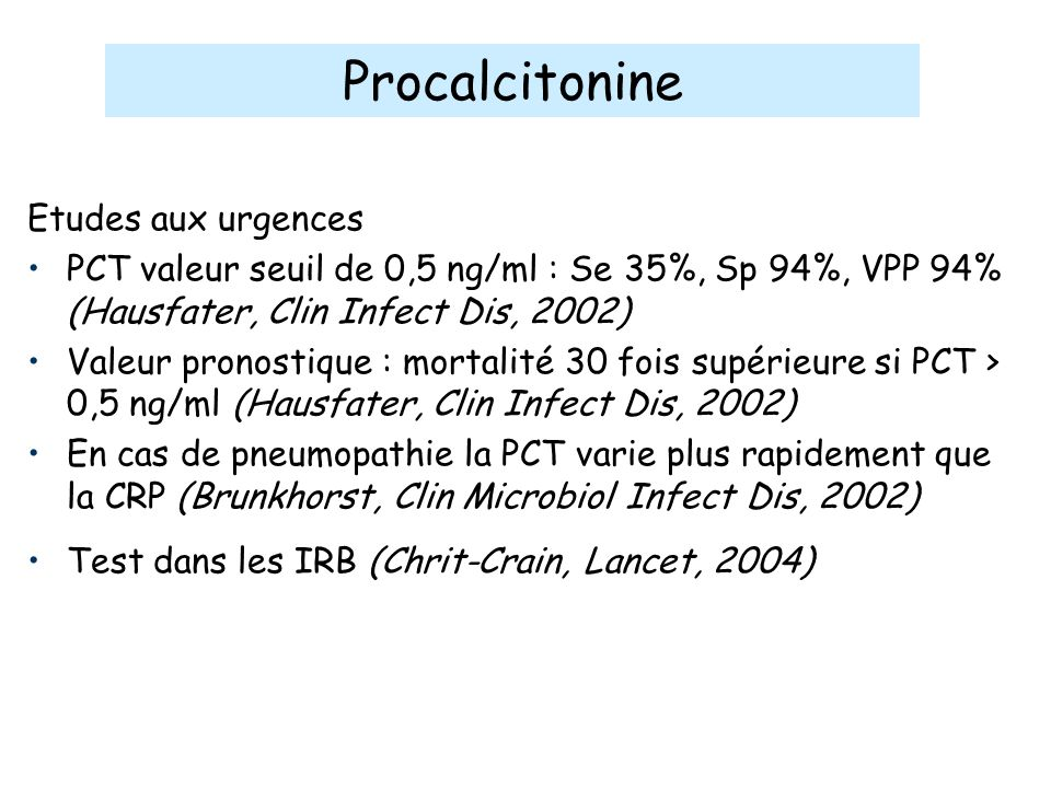 Procalcitonine Etudes aux urgences