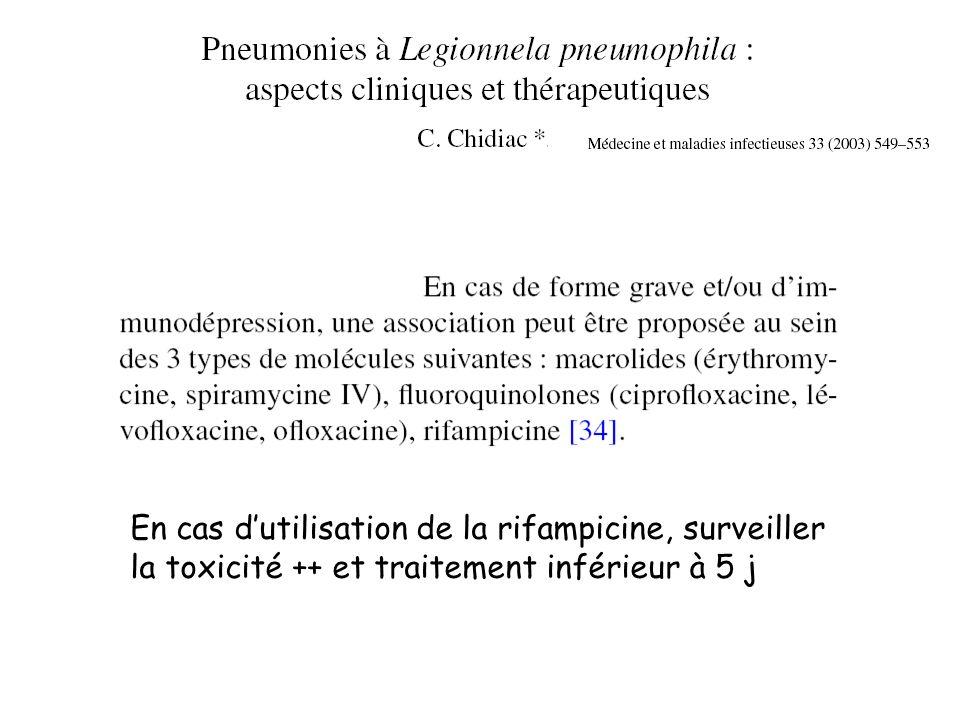 En cas d'utilisation de la rifampicine, surveiller la toxicité ++ et traitement inférieur à 5 j