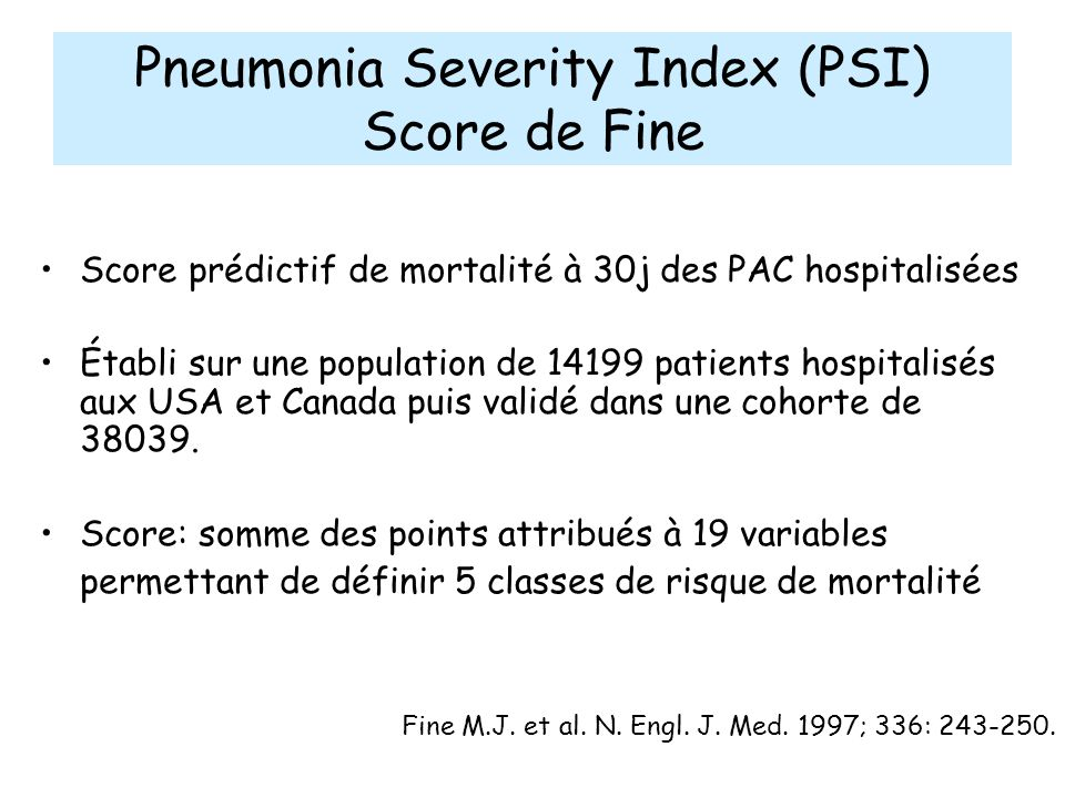 Pneumonia Severity Index (PSI)