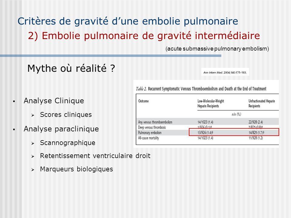 Critères de gravité d'une embolie pulmonaire 2) Embolie pulmonaire de gravité intermédiaire