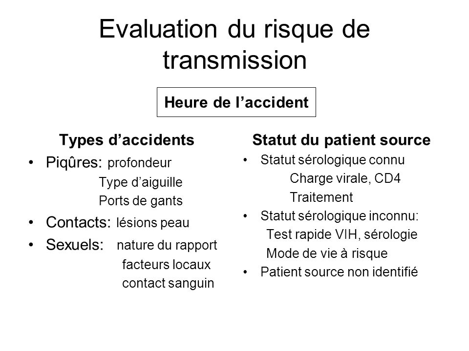 Evaluation du risque de transmission