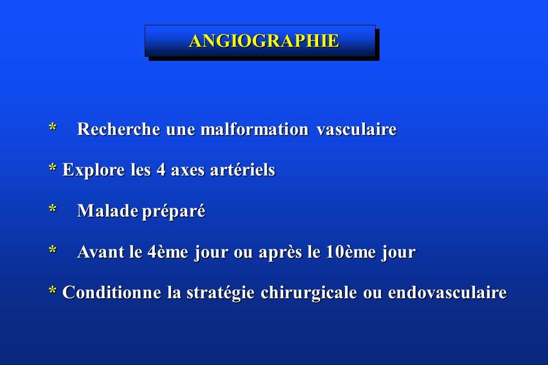ANGIOGRAPHIE *Recherche une malformation vasculaire. * Explore les 4 axes artériels. *Malade préparé.