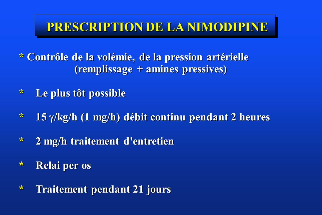 PRESCRIPTION DE LA NIMODIPINE