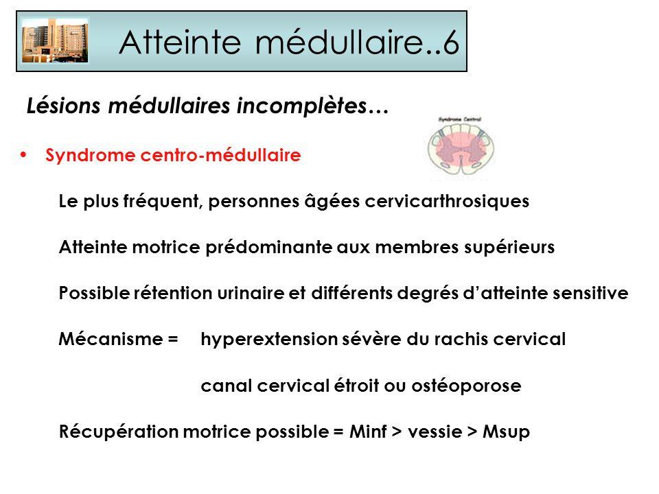 Atteinte médullaire..6 Lésions médullaires incomplètes…