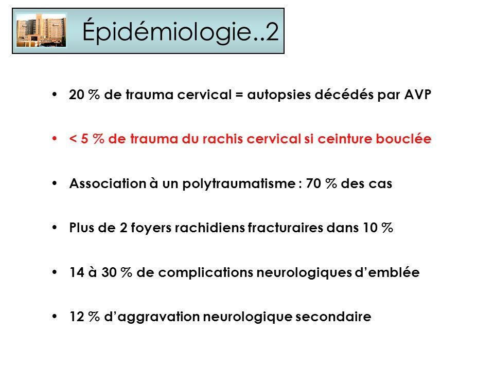 Épidémiologie..2 20 % de trauma cervical = autopsies décédés par AVP