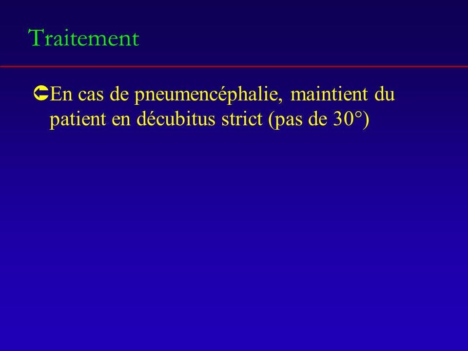 Traitement En cas de pneumencéphalie, maintient du patient en décubitus strict (pas de 30°)