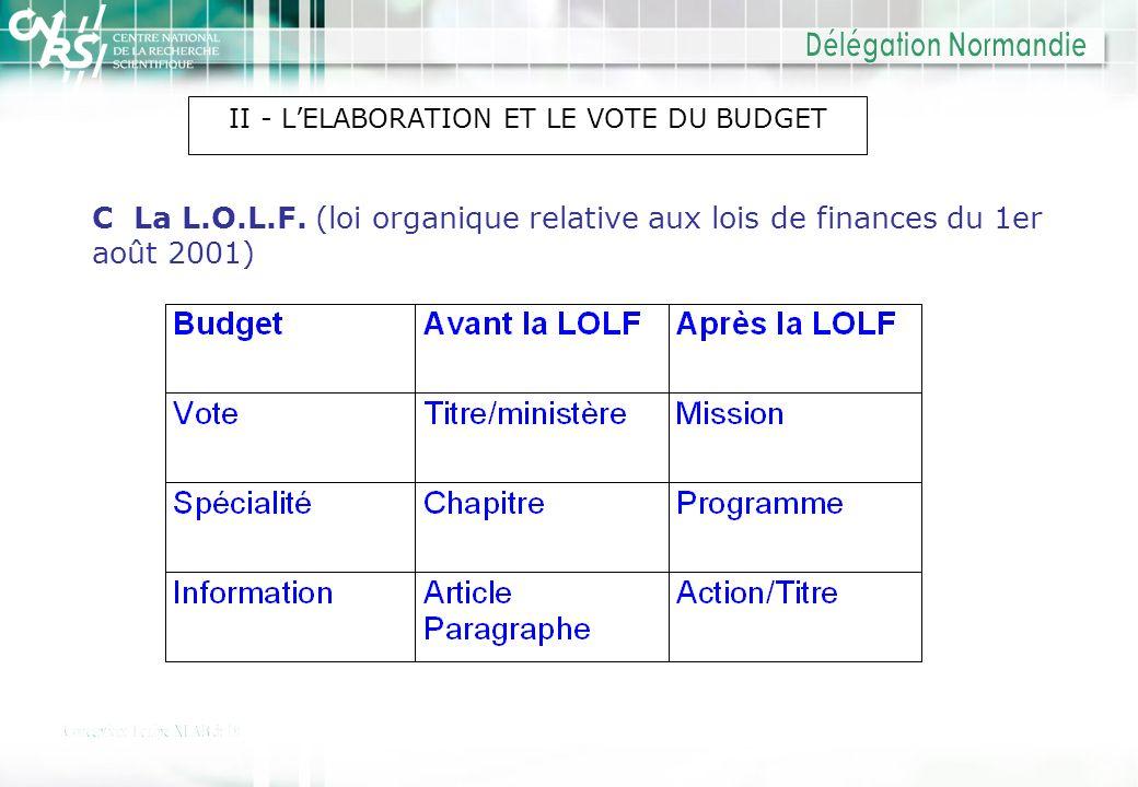 II - L'ELABORATION ET LE VOTE DU BUDGET