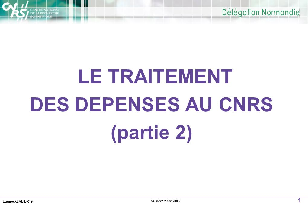DES DEPENSES AU CNRS (partie 2)