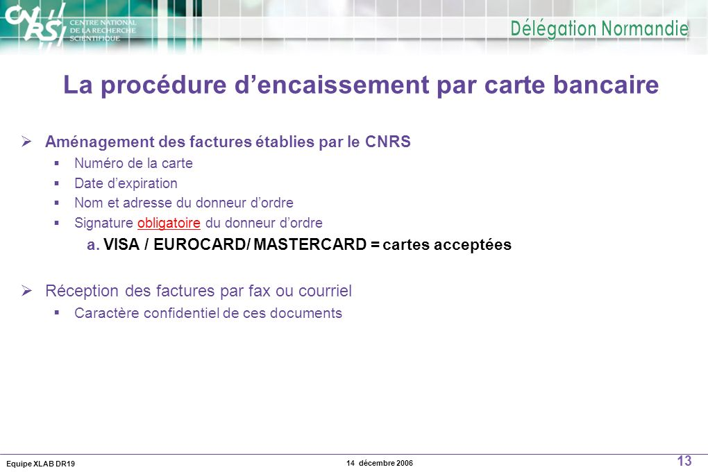 La procédure d'encaissement par carte bancaire
