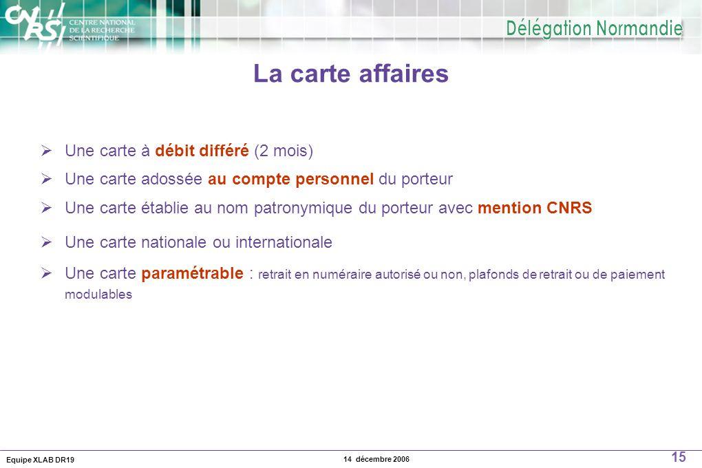 La carte affaires Une carte à débit différé (2 mois)