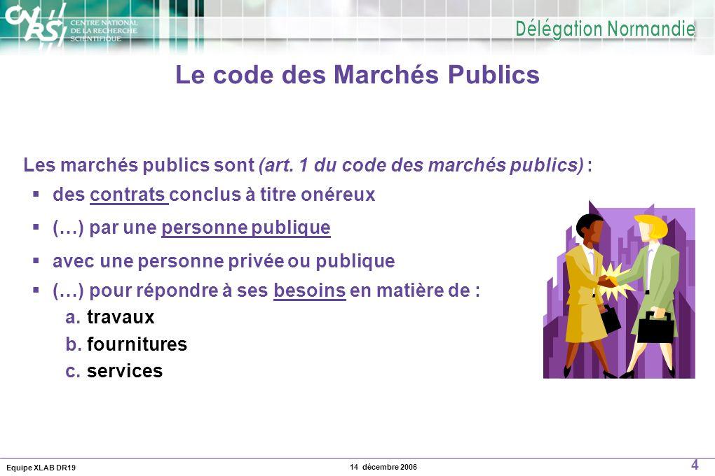 Le code des Marchés Publics