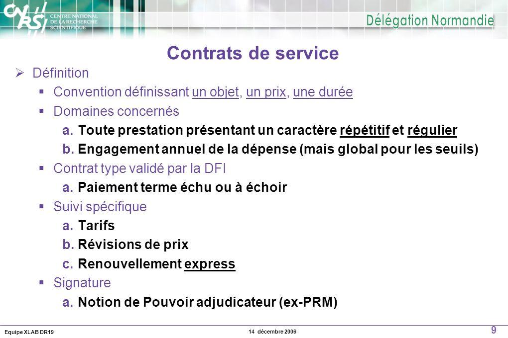 Contrats de service Définition