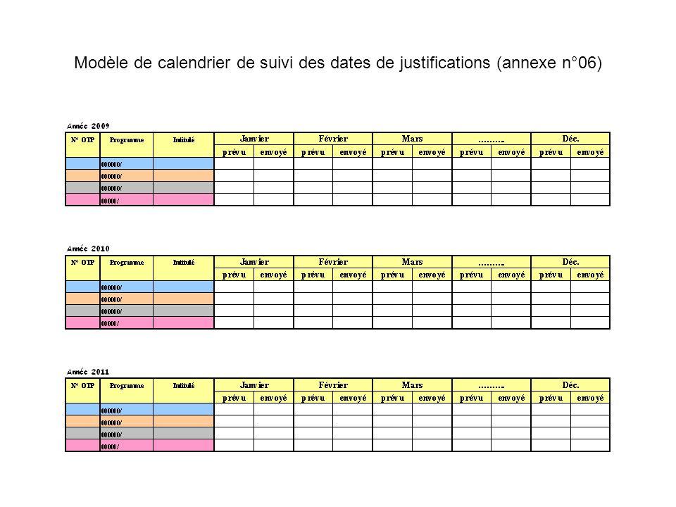 Modèle de calendrier de suivi des dates de justifications (annexe n°06)