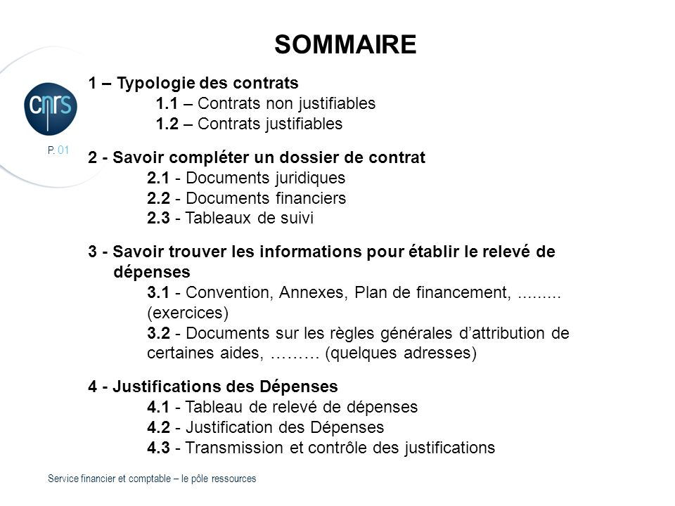 SOMMAIRE 1 – Typologie des contrats 1.1 – Contrats non justifiables