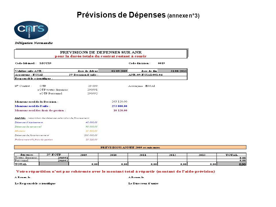 Prévisions de Dépenses (annexe n°3)