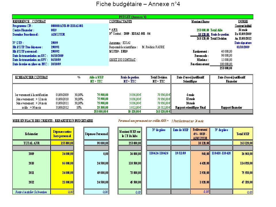 Fiche budgétaire – Annexe n°4