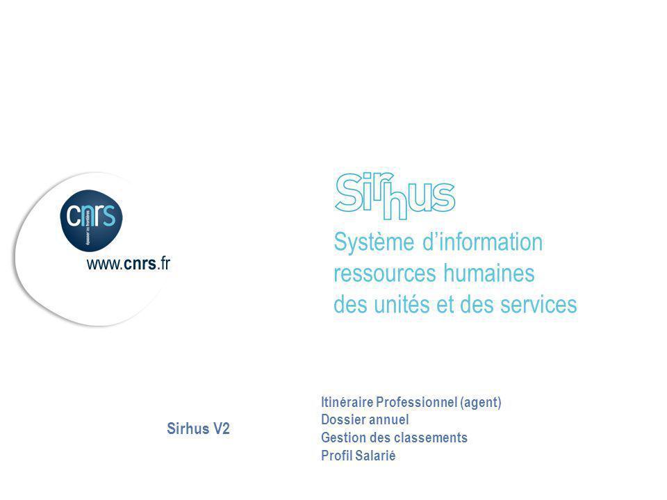 Sirhus V2 Itinéraire Professionnel (agent) Dossier annuel