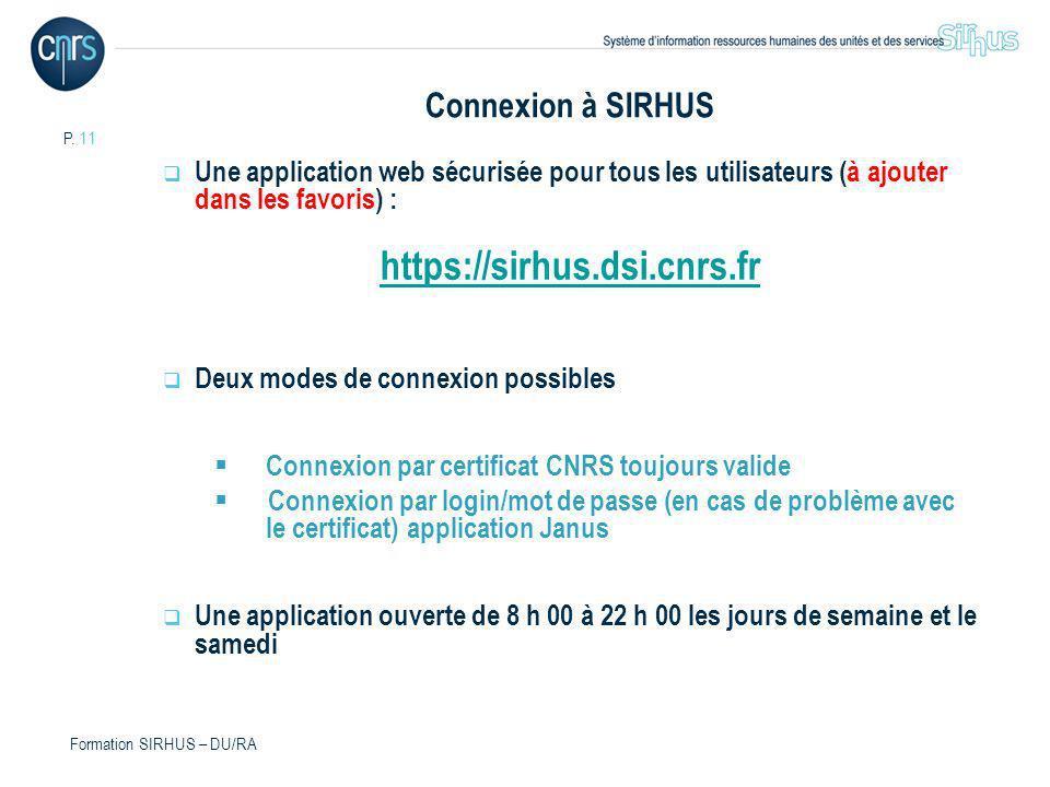 https://sirhus.dsi.cnrs.fr Connexion à SIRHUS