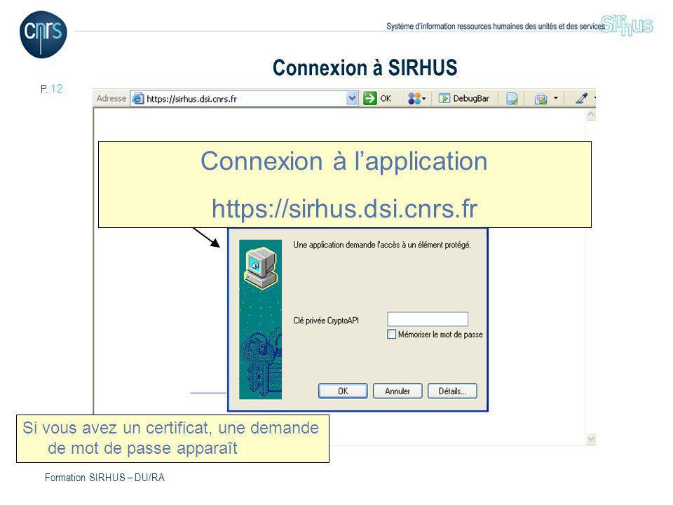 Connexion à l'application