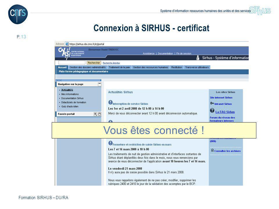 Connexion à SIRHUS - certificat