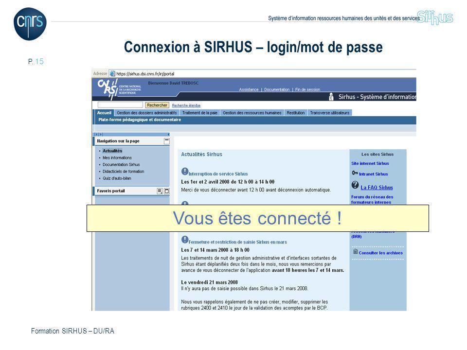 Connexion à SIRHUS – login/mot de passe