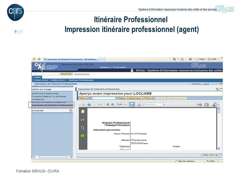 Itinéraire Professionnel Impression itinéraire professionnel (agent)