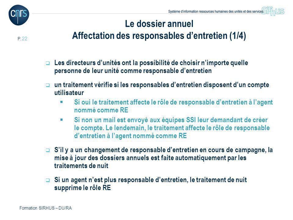 Le dossier annuel Affectation des responsables d'entretien (1/4)