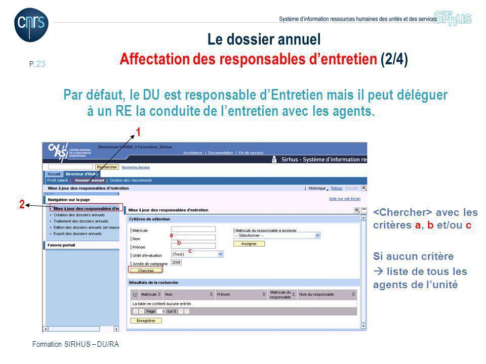 Le dossier annuel Affectation des responsables d'entretien (2/4)