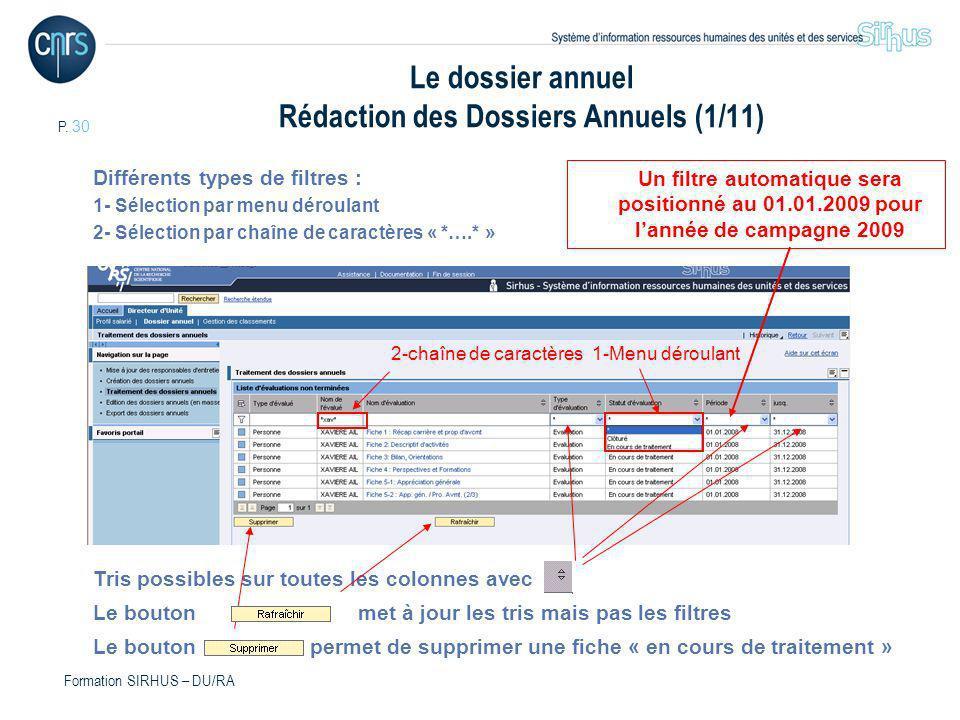 Le dossier annuel Rédaction des Dossiers Annuels (1/11)