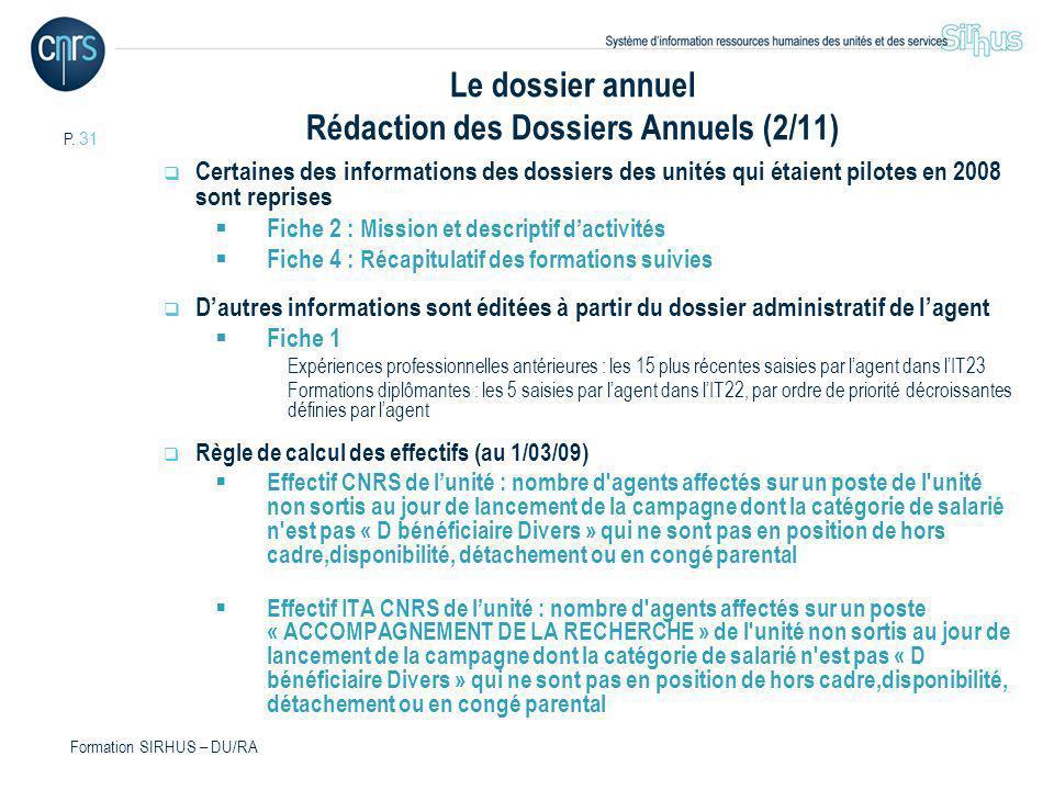 Le dossier annuel Rédaction des Dossiers Annuels (2/11)