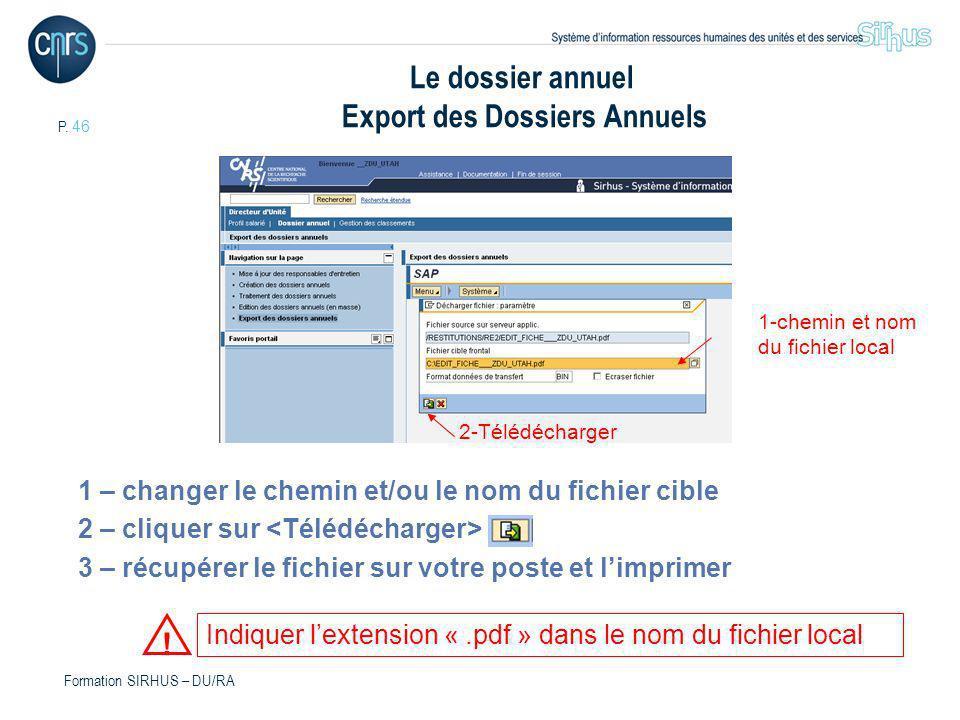 Le dossier annuel Export des Dossiers Annuels