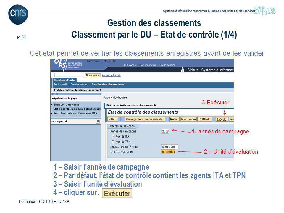Gestion des classements Classement par le DU – Etat de contrôle (1/4)