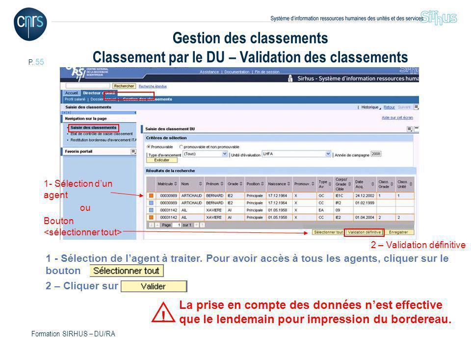 Gestion des classements Classement par le DU – Validation des classements