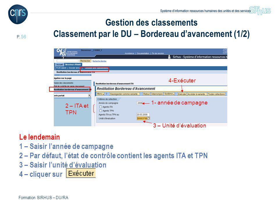 Gestion des classements Classement par le DU – Bordereau d'avancement (1/2)