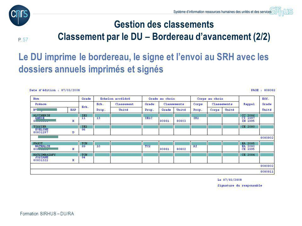 Gestion des classements Classement par le DU – Bordereau d'avancement (2/2)